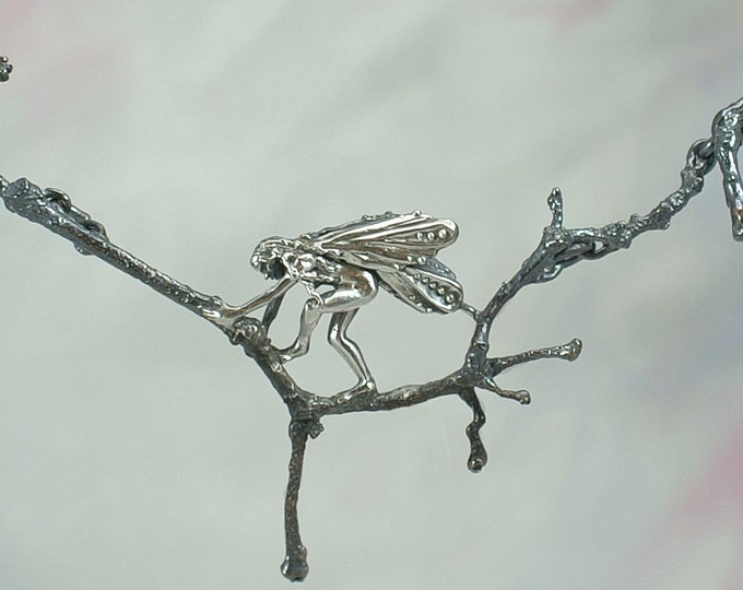 "Fantasy Jewelry ""Faeries of the Wood"" Necklace in Sterling Silver"