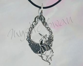 Mystical Fantasy Phoenix Pendant in Sterling Silver