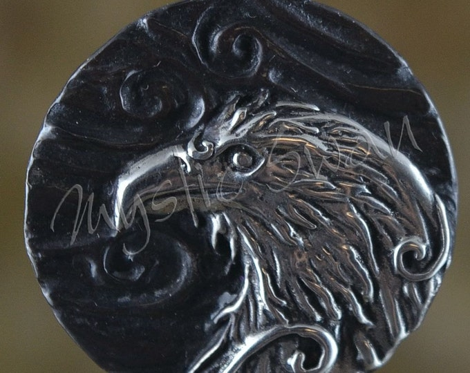 Sterling Silver Eagle Pendant with Tube Bail, Spirit and Totem Animal Fantasy Jewelry