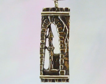 Medieval Castle Fantasy Pendant in Sterling Silver