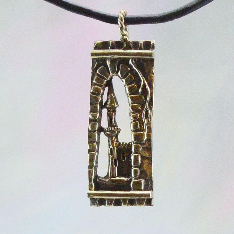 Medieval Castle Fantasy Pendant in Sterling Silver image 0