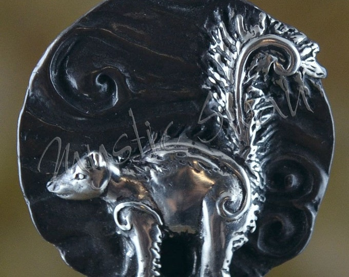 Sterling Silver Skunk Pendant with Tube Bail, Spirit and Totem Animal Fantasy Jewelry