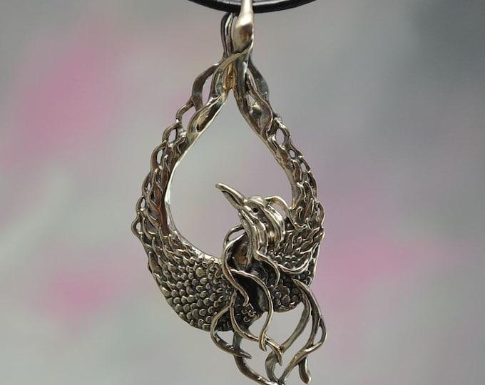 Mystical Phoenix Fantasy Jewelry Pendant in Bronze