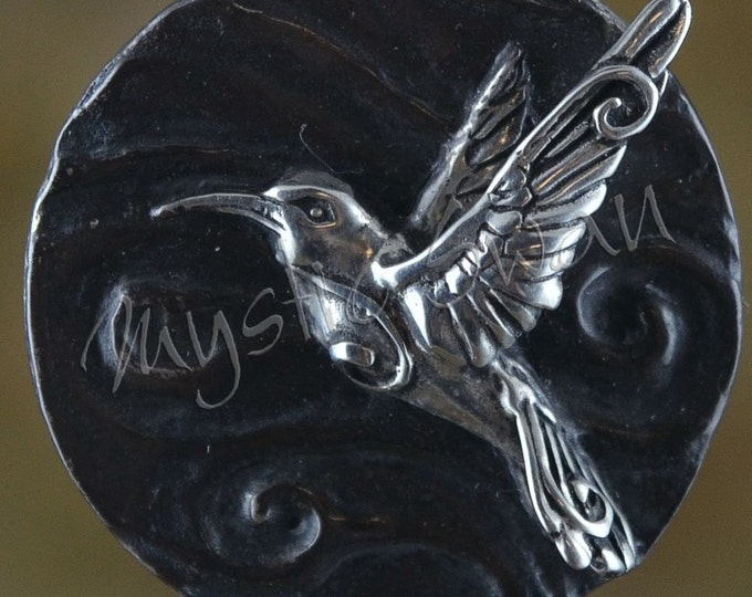Sterling Silver Hummingbird Pendant with Tube Bail, Spirit and Totem Animal Fantasy Jewelry