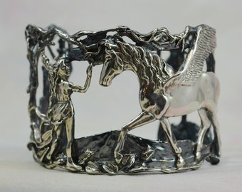 """Pegasus and Maiden """"At Last"""" Fantasy Jewelry Bracelet in Sterling Silver"""