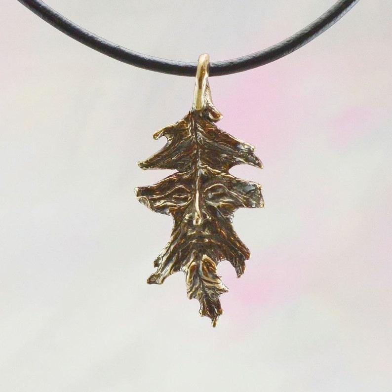 Oak Leaf Greenman Fantasy Jewelry Pendant in Bronze image 0