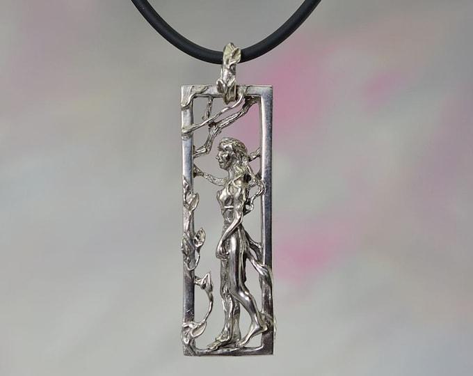 Walking Goddess Fantasy Jewelry Pendant in Sterling Silver