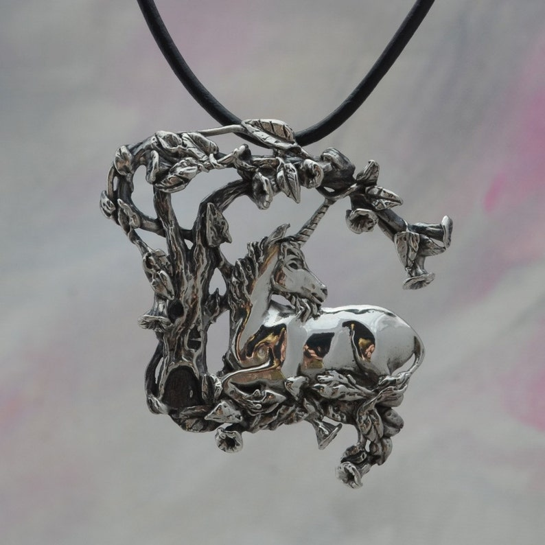 Magical Fantasy Jewelry Unicorn Pendant in Sterling Silver image 0
