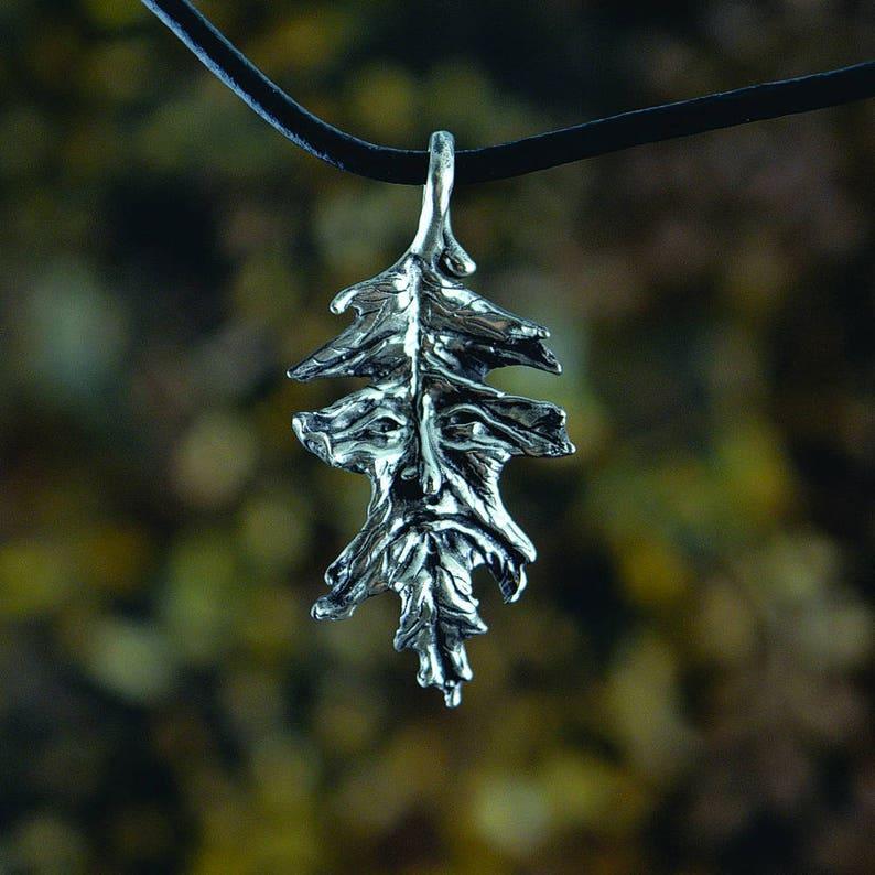 Oak Leaf Greenman Fantasy Jewelry Pendant in Sterling Silver image 0