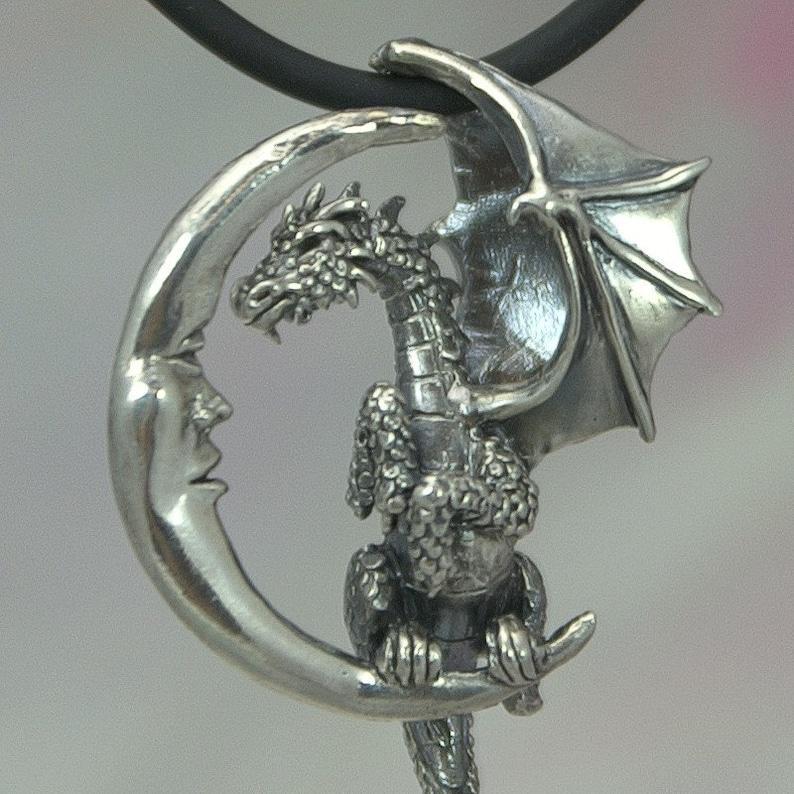 Dragon Pendant in Sterling Silver Lunar Dragon Fantasy Pendant image 0