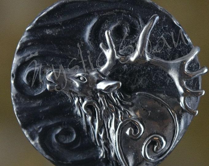 Spirit Elk Fantasy Pendant with Tube Bail in Sterling Silver