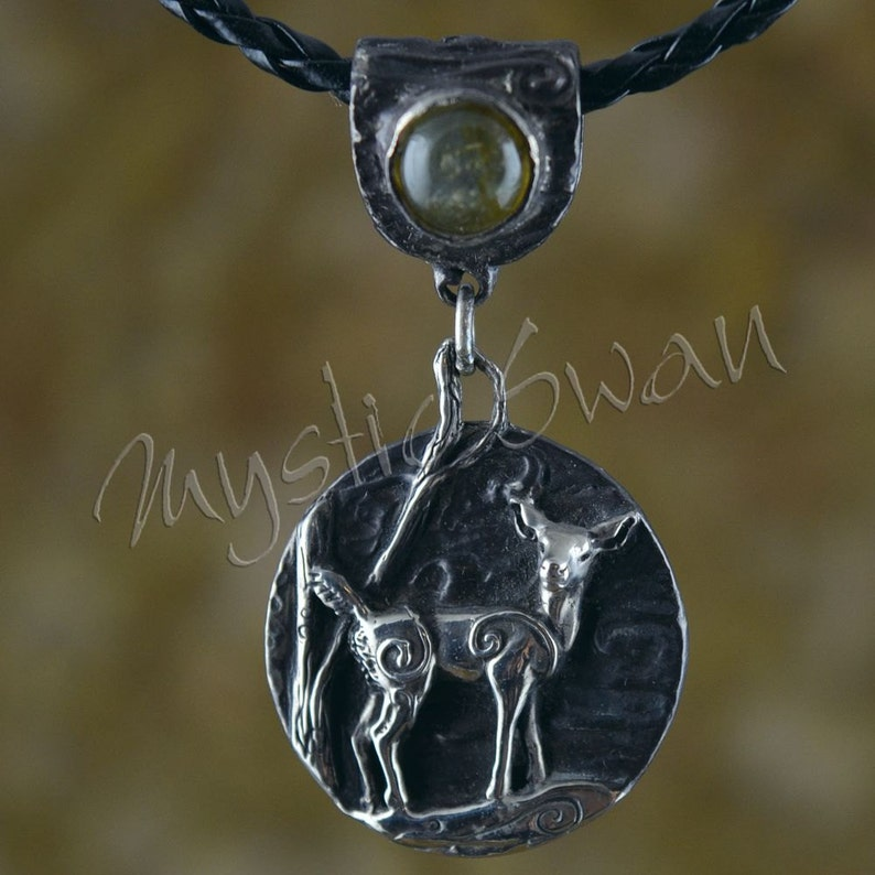Spirit Deer Fantasy Pendant with Accent Stone Bail in Sterling image 0