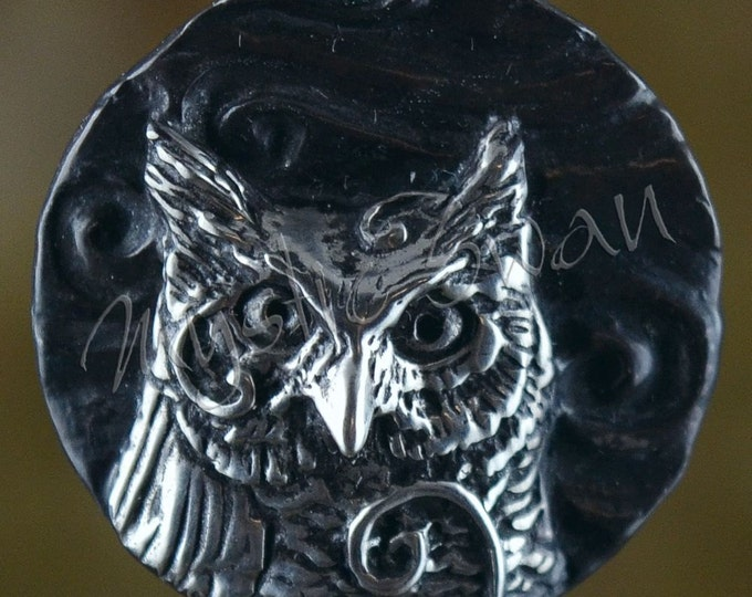 Sterling Silver Owl Pendant with Tube Bail, Spirit Animal and Totem Fantasy Jewelry