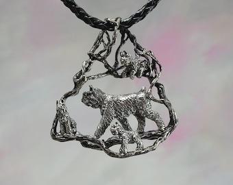 Bouvier des Flanders Dog Pendant in Sterling Silver