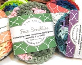 Face Scrubbies 100% cotton/reusable/washable/puff stitch crochet/handmade face cloth/washcloth makeup remover