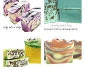 Handmade Vegan Soaps - 4 pack discount and low shipping - gift packaging