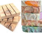 Soap + Cedar Soap Deck Soap Saver/handmade cedar soap dish/gift basket accessory/choose 4 soaps get soap dish FREE