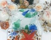 Soap Dish/Soap Tray - Soap Deck - Soap Saver - Oregon Beaches themed soap trays/seashells/starfish/sea glass/polished river rock