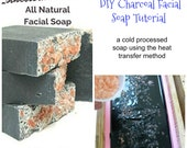 Charcoal Soap PDF Tutorial - from scratch/cold process/SUPER EASY Heat Transfer Method - Facial Soap Recipe + Pictures