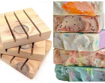 Soap + Cedar Soap Deck Soap Saver/handmade cedar soap dish/gift basket accessory/choose 4 soaps