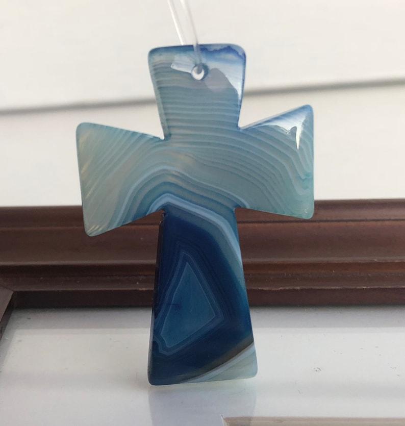 Blue Stripes Onyx Agate Cross Focal