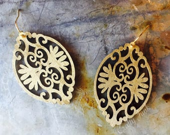 Wood &Gold Leaf Earrings