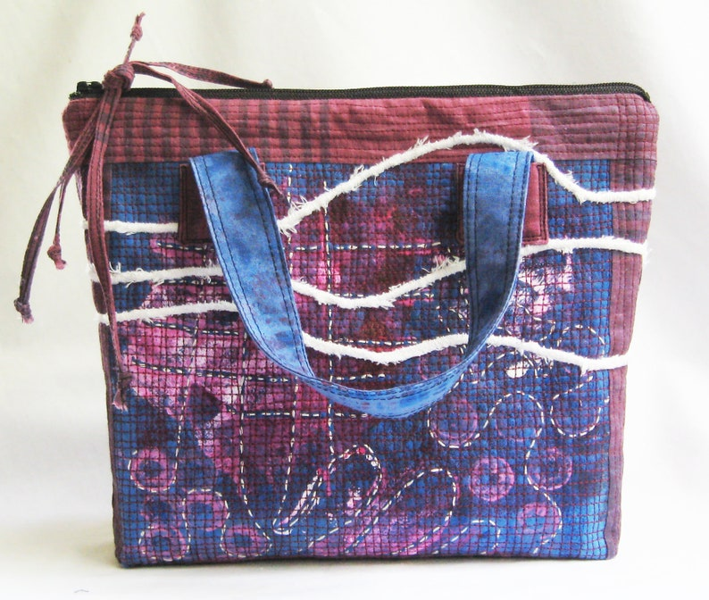 Small tote blue and pink purse short handle bag purple image 0