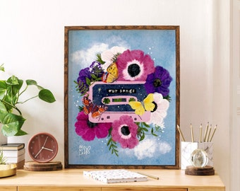 Our Songs Print, Cassette tape Print, Vintage music Print