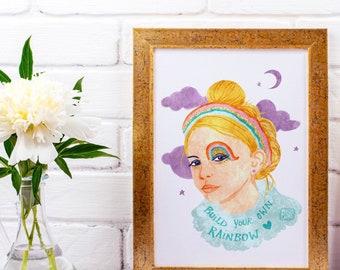 Build your own Rainbow Print, Girl Print
