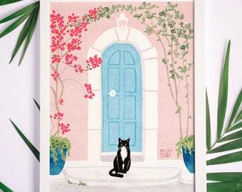 Summer Cat Print, Digital Print, Art for your wall