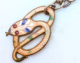 Antique Snake Necklace. Egyptian Revival. Art Deco. Art Nouveau. Enamel pendant. Vintage jewelry. LA eb