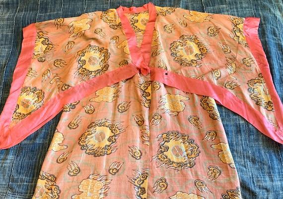 RARE Victorian Pongee silk Kimono/ Angel Sleeve/ a