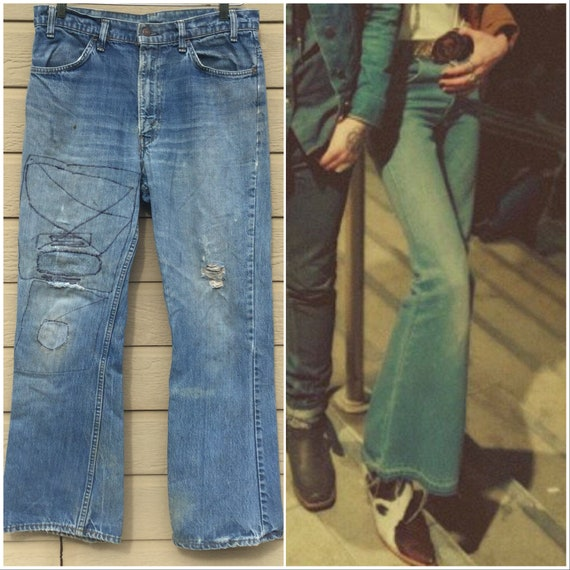70s Levi's 646 Flare Jeans. Orange tab. 33 x 29. T