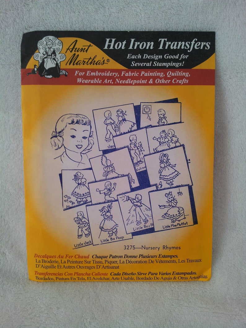 Nursery Rhymes Quilt Aunt Martha/'s Hot Iron Embroidery Transfer #3275