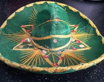 Vintage  GREEN  Medium Sombrero For Pet