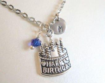 Happy Birthday Necklace Birthstone Necklace Initial Necklace Personalized Necklace Happy Birthday Jewelry