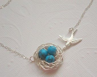 super handmade gift Bird Nest Pendant with 3 beads and green leaves including a 55cm long silver PL necklace