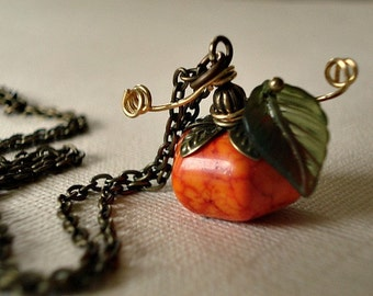 Pendants etsy nz pumpkin necklace autumn necklace pumpkin jewelry genuine howlite fall jewelry necklace thanksgiving necklace aloadofball Images