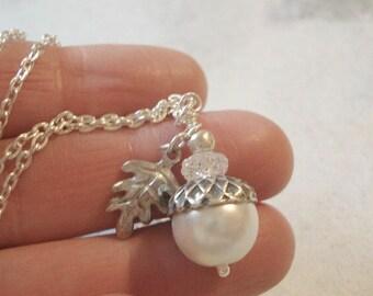 Pearl Acorn Necklace Silver Acorn Necklace Acorn Pendant Jewelry Bridesmaid Necklace  White Acorn Necklace Acorn Jewelry