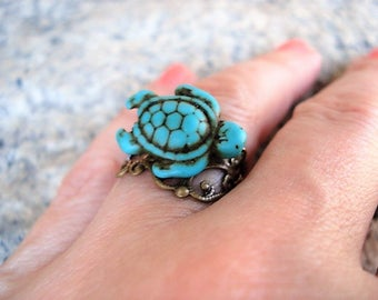 Turtle Ring Turquoise Turtle Ring Tortoise Ring Blue Turtle Ring Brass Adjustable Wrap Around Ring Turtle Jewelry Summer Jewelry