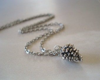 Pine cone Necklace Silver Pinecone Charm Necklace Pendant Pine cone Jewelry Tiny Pinecone Jewelry