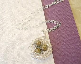 Nest Necklace Silver Bird Nest Robin's Eggs Nest Mom Sister Pendant Bird Nest Jewelry