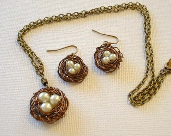 Bird Nest Necklace Pearl Nest Necklace Mom Pendant Bird Nest Necklace and Earrings Jewelry Set
