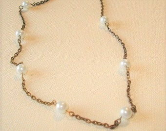 Pearl Brass Beaded Necklace Pearl Necklace Bridesmaid Necklace Wedding Jewelry Vintage Style Pearl Necklace