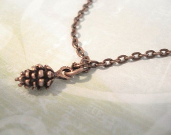 Pinecone Necklace Brass Pinecone Necklace Gift For Her Necklace Little Brass Pincecone Pine Cone Charm Necklace
