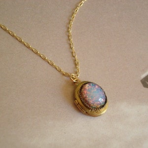 8 Opal Color Selections White Fire Opal Locket Necklace