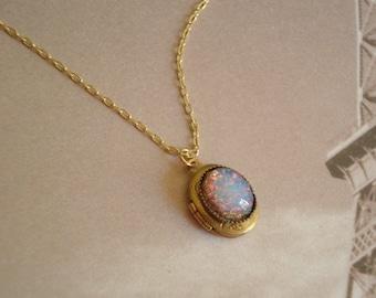 Opal Necklace Opal Locket Brass Locket Fire Opal Gold Chain Opal Jewelry