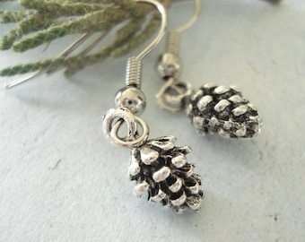 Pinecone Earrings Tiny Silver Pine cone Earrings Pinecone Jewelry Winter Wonderland