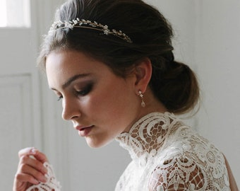 BLANCHETT | delicate wedding tiara, Art Deco tiara, wedding headband, bridal crown