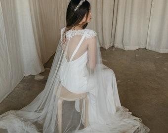 ESMERALDA   Bridal cape veil, wedding cape, lace cape